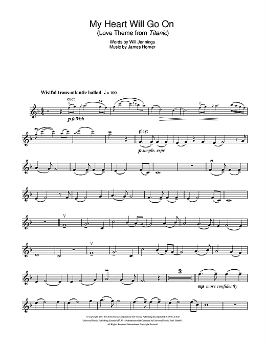 My Heart Will Go On (Love Theme from Titanic) sheet music by Celine Dion (Violin u2013 102781)