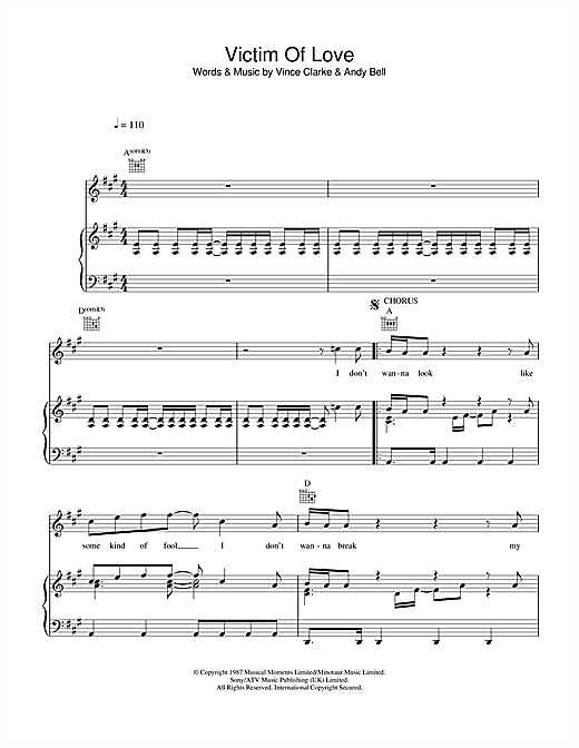 Victim Of Love Sheet Music