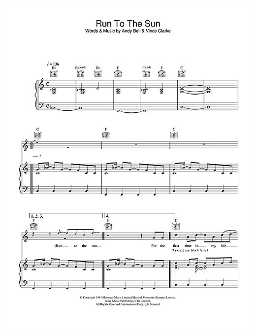 Run To The Sun (Piano, Vocal & Guitar (Right-Hand Melody))