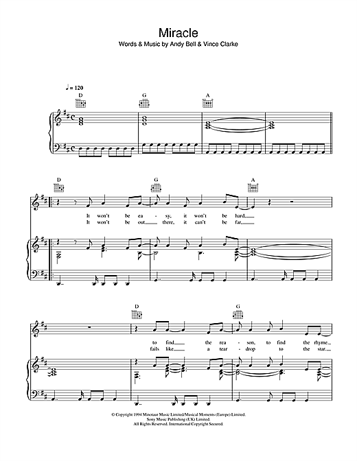 Miracle (Piano, Vocal & Guitar (Right-Hand Melody))