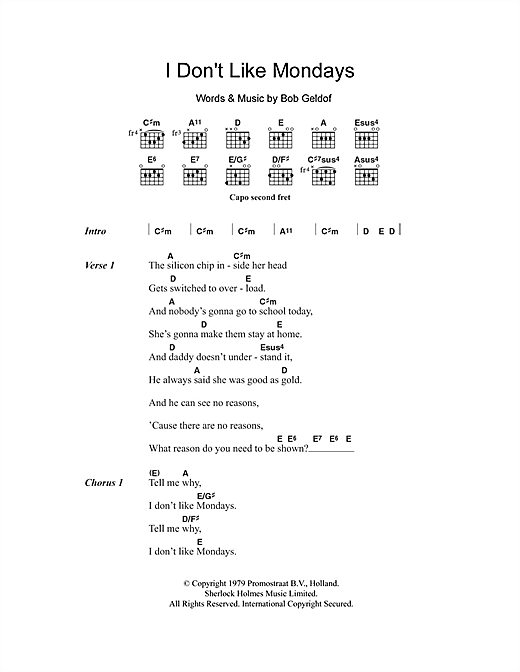 I Don't Like Mondays (Guitar Chords/Lyrics)