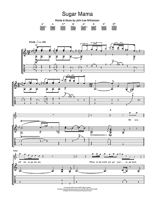 Sugar Mama Sheet Music