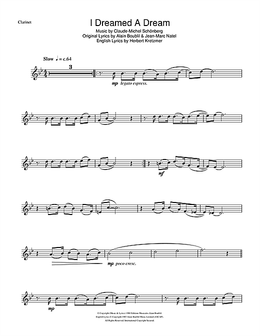 I Dreamed A Dream (from Les Miserables) (Clarinet Solo)