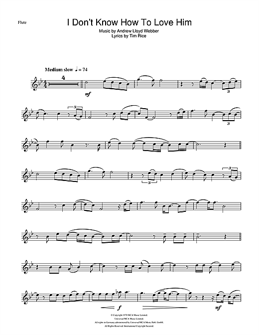 I Don't Know How To Love Him (from Jesus Christ Superstar) Sheet Music