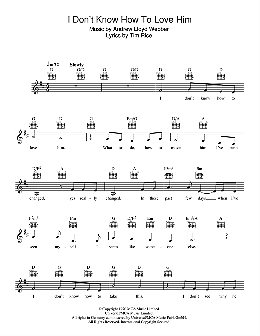 I Don't Know How To Love Him (from Jesus Christ Superstar) (Lead Sheet / Fake Book)