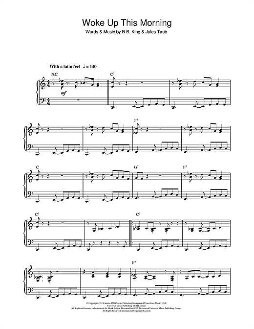 Woke Up This Morning Sheet Music