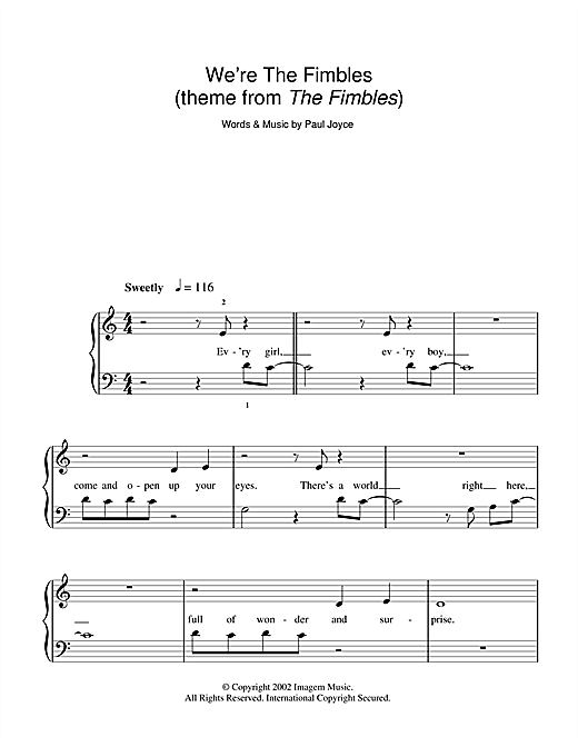 Partition piano We're The Fimbles (theme from The Fimbles) de Paul Joyce - Autre