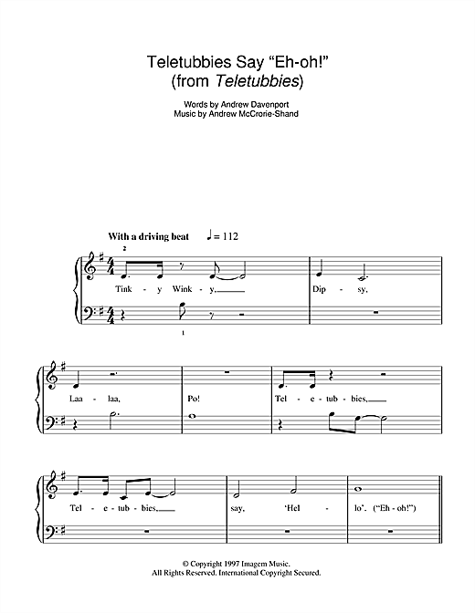 "Teletubbies Say ""Eh-oh!"" Sheet Music"