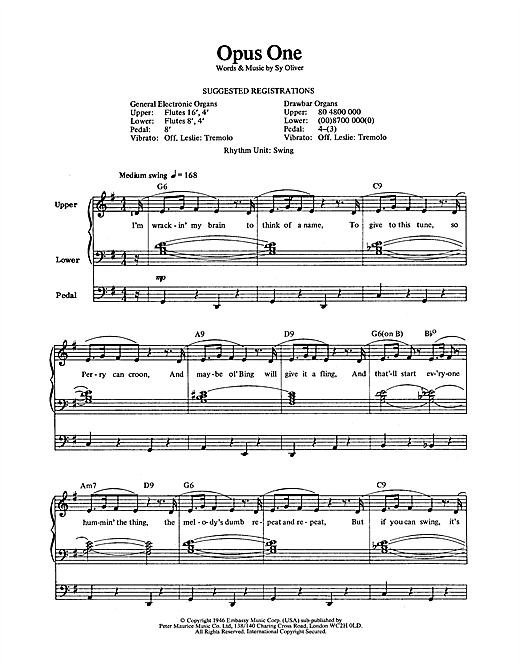 Partition saxophone Opus One de Sy Oliver - Orgue