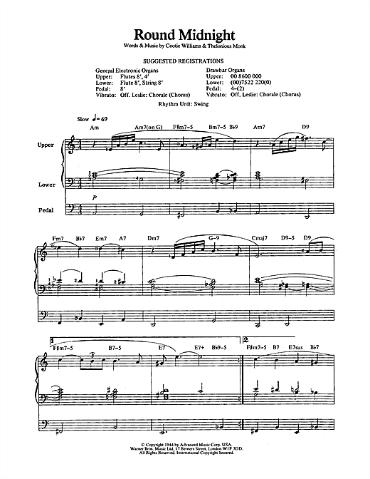 round midnight piano sheet music