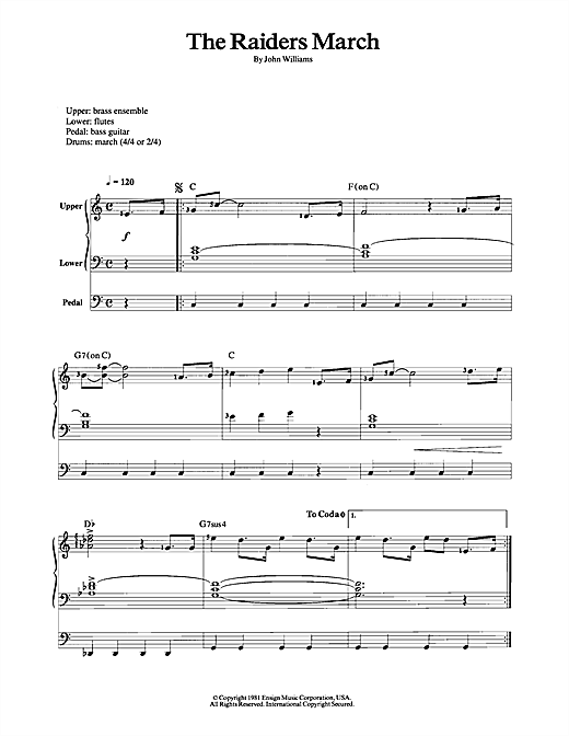 Partition saxophone Raiders March (from 'Raiders Of The Lost Ark') de John Williams - Orgue
