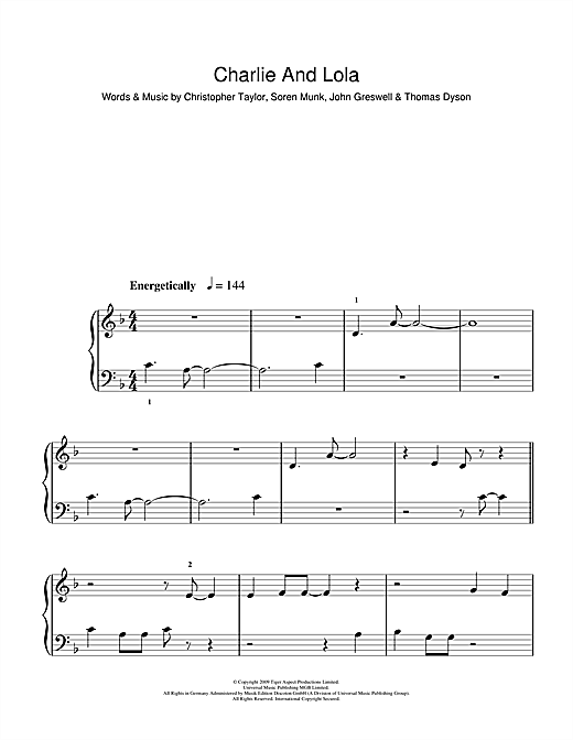 Charlie And Lola (Theme) Sheet Music