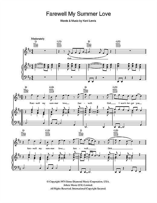 Farewell My Summer Love Sheet Music