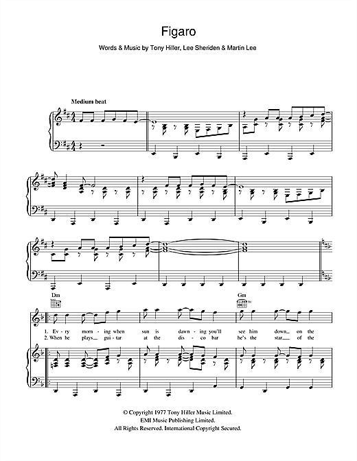 Figaro (Piano, Vocal & Guitar (Right-Hand Melody))