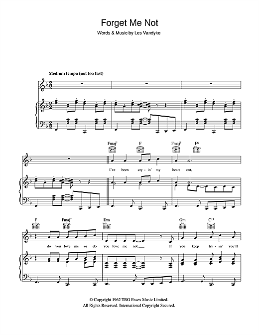Forget Me Not Sheet Music