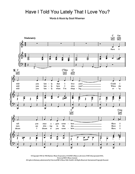 Have I Told You Lately That I Love You? Sheet Music