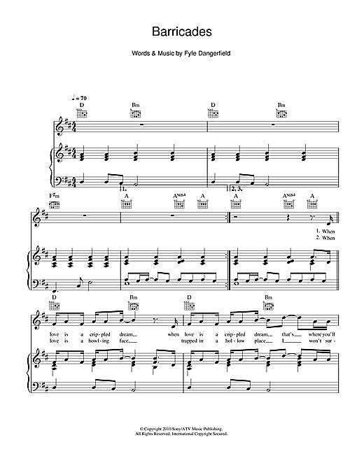 Barricades (Piano, Vocal & Guitar (Right-Hand Melody))
