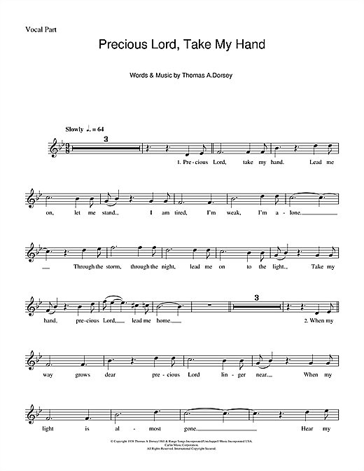 Precious Lord, Take My Hand (Take My Hand, Precious Lord) Sheet Music