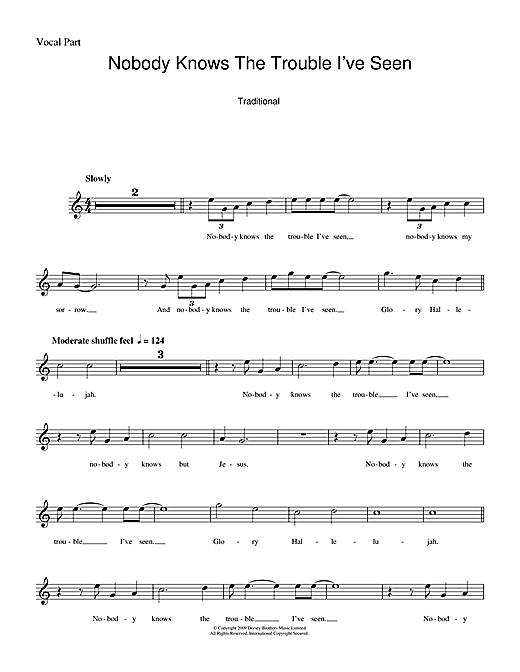 Nobody Knows The Trouble I've Seen (Lead Sheet / Fake Book)