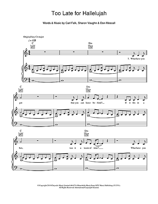 Too Late For Hallelujah Sheet Music