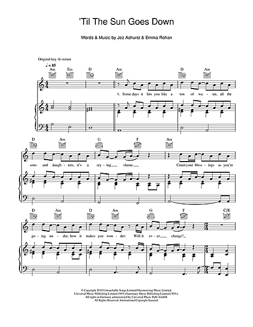 'Til The Sun Goes Down Sheet Music
