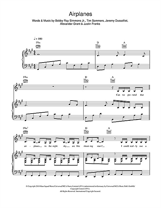 Airplanes (feat. Hayley Williams) Sheet Music