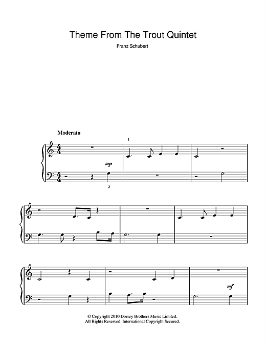 Theme From The Trout Quintet (Die Forelle) (5-Finger Piano)
