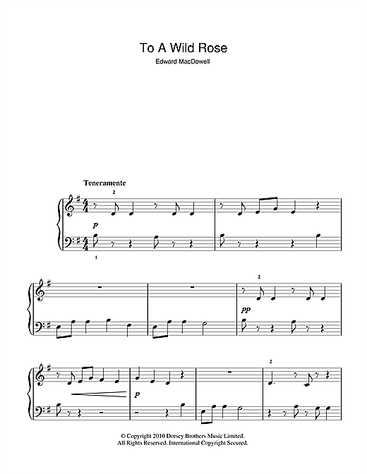 Partition piano To A Wild Rose de Edward MacDowell - Autre