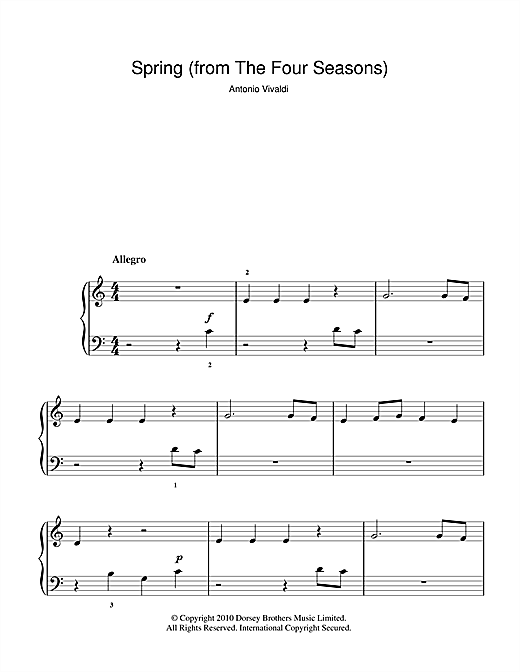 Spring (from The Four Seasons) sheet music by Antonio ...