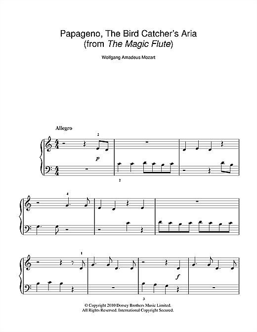 Papageno, The Bird Catcher's Aria (Der Vogelfänger) (from The Magic Flute) Sheet Music