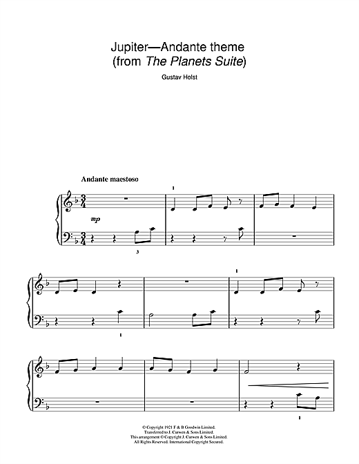 Jupiter (from The Planets Op. 32) (5-Finger Piano)