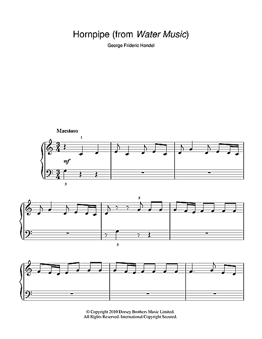 Hornpipe (from The Water Music Suite) Sheet Music