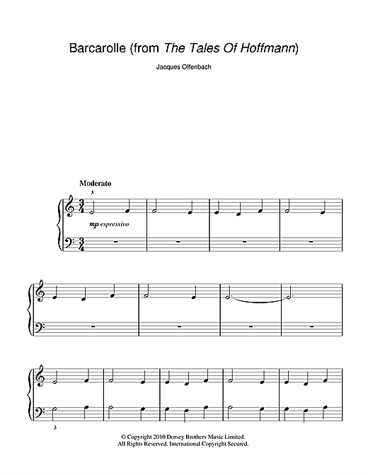 Barcarolle (from The Tales Of Hoffmann) Sheet Music