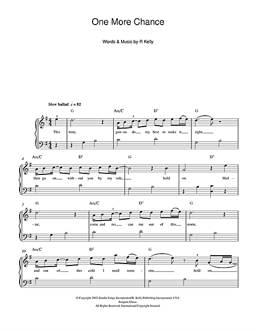 One More Chance Sheet Music