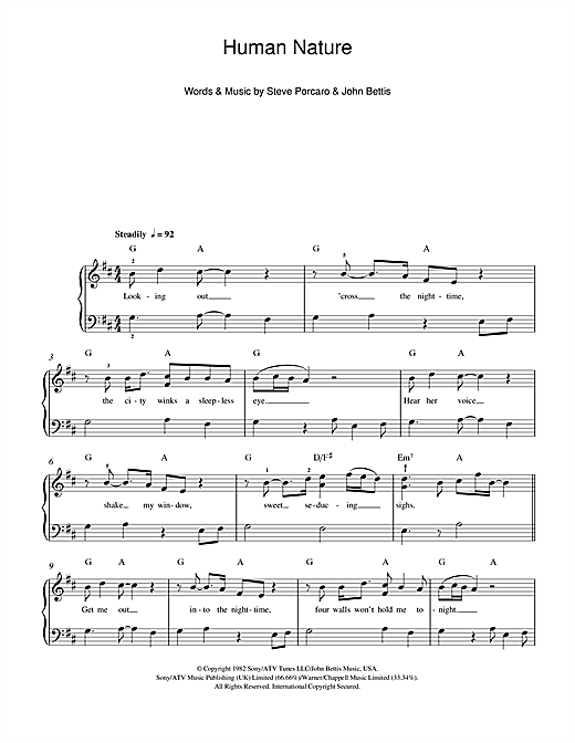 Human Nature Sheet Music