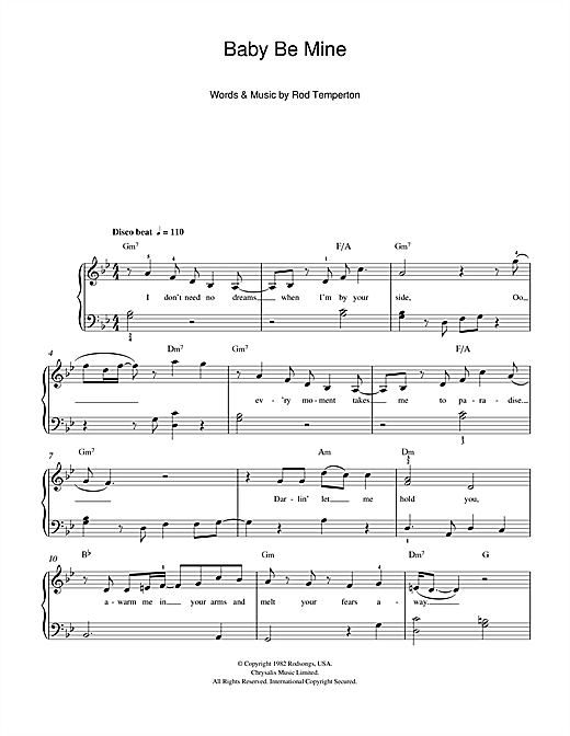 Baby Be Mine Sheet Music