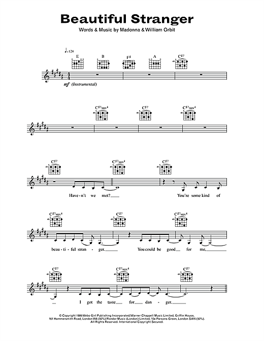 Beautiful Stranger Sheet Music