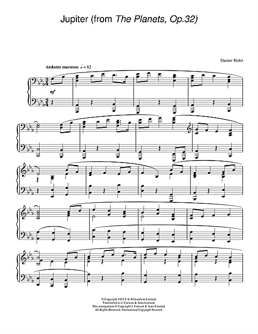 Partition piano Jupiter (from The Planets Op. 32) de Gustav Holst - Piano Solo