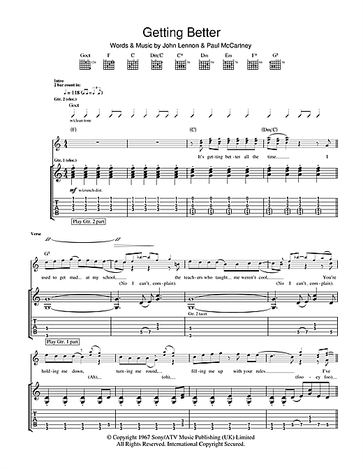 Tablature guitare Getting Better de The Beatles - Tablature Guitare