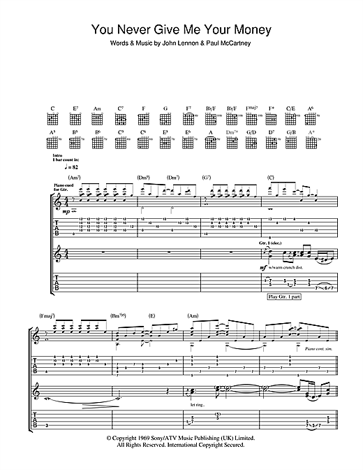 Tablature guitare You Never Give Me Your Money de The Beatles - Tablature Guitare