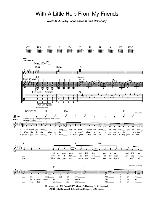 Tablature guitare With A Little Help From My Friends de The Beatles - Tablature Guitare