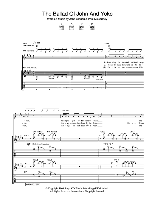Tablature guitare The Ballad Of John And Yoko de The Beatles - Tablature Guitare