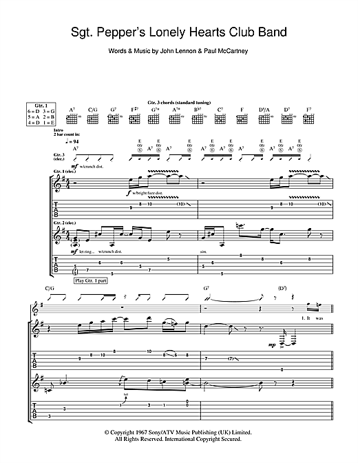 Tablature guitare Sgt. Pepper's Lonely Hearts Club Band de The Beatles - Tablature Guitare