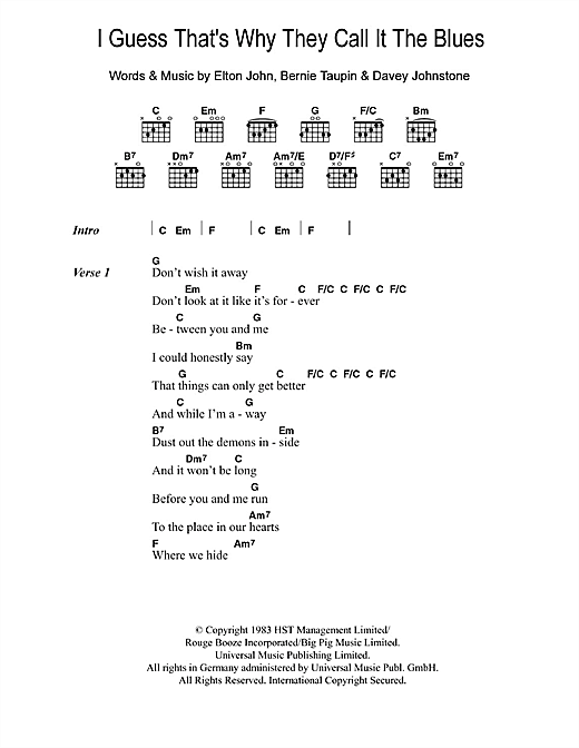 I Guess That's Why They Call It The Blues (Guitar Chords/Lyrics)