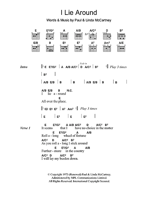 I Lie Around (Guitar Chords/Lyrics)