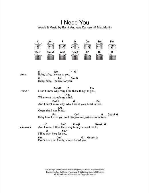 I Need You (Guitar Chords/Lyrics)