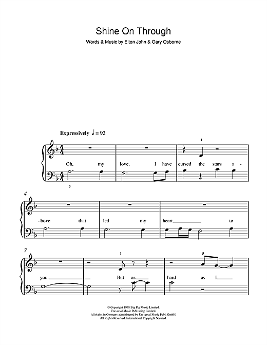Shine On Through Sheet Music