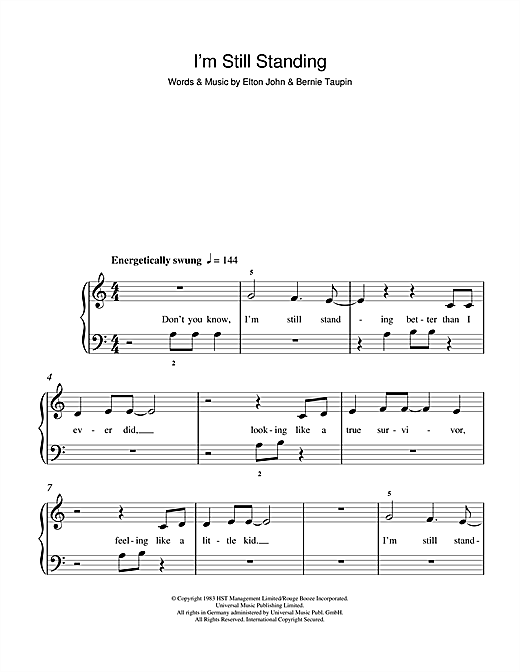 I'm Still Standing Sheet Music