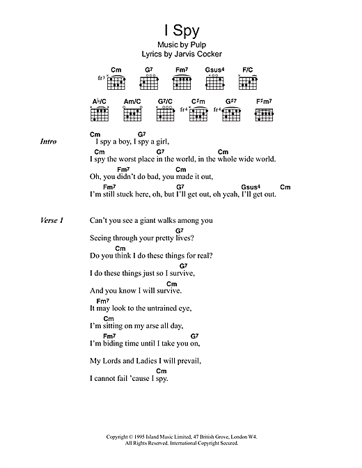 I Spy sheet music by Pulp (Lyrics & Chords – 103136)