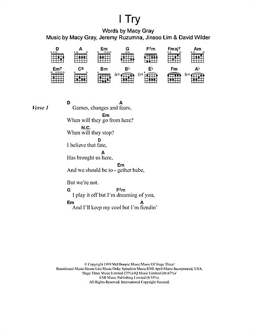 I Try sheet music by Macy Gray (Lyrics & Chords – 103145)